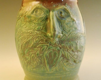 Green Man 1 Hand Sculpted Face Stein OOAK