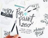 ON SALE 2017 REFILL only 5x7 Mini Calendar, Black & White, Seasonal, Hand Lettered, Planner, Wall Calendar, Desk Calendar, Planner dashboard