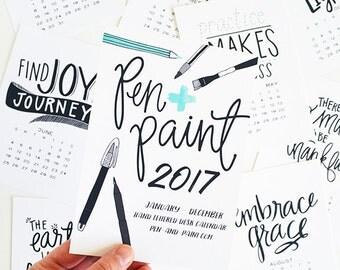 ON SALE 2017 REFILL only 5x7 Mini Calendar, Black & White, Seasonal, Hand Lettered, Planner, Wall Calendar, Desk Calendar, Planner dashboard