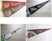 60s 70s Pennants from CANADA  Niagara Falls Tobermory 1970s Choose One Distressed Rustic