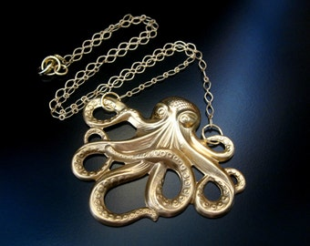 Octopus Necklace, Brass Octopus, Ocotpus Jewelry, Brass Necklace, Brass Jewelry Octopus Pendant, Brass Chain Necklace, Metal Necklace