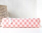Pink Plaid Small Pencil Pouch Skinny Pencil Case Cute Pencil Case Polka Dots Purse Organizer