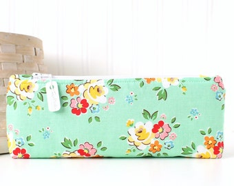 Red and Aqua Floral Pencil Pouch Retro Floral Pencil Bag Aqua Purse Organizer