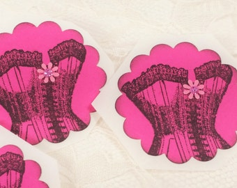 10 Hot Pink Corset Stickers French Inspired Bachelorette Party Engagement Invite Seals