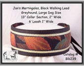 Jan's Martingales, Black Walking Lead, Collar and Lead Combination, Greyhound, Large Dog Size, Blk239