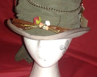 Steampunk  'Twigs' Ascot Grey Top Hat