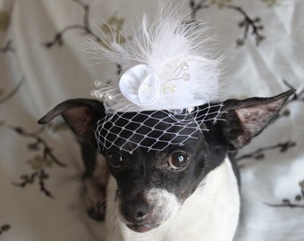 Cute white color wedding hat for dog or cat