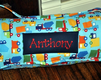 Nap Mat - Monogrammed Construction Dump Trucks Nap Mat with Navy Minky Dot Blanket