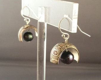 Mokume Gane and Black Pearl earrings