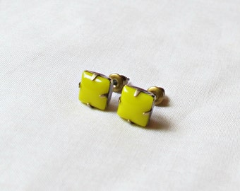 Neon Yellow Earrings Ear Studs Vintage Glass Bridesmaid Square Glam It Up Jewellery dspdavey Jewelry Cute Diamond Eye-Catching Handmade