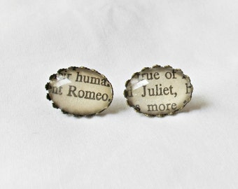 Romeo and Juliet Earring Studs. Shakespeare Play Literature Words Brass. Upcycled Ear Studs Women Brown Glass. Two Cheeky Monkeys Oval Gift