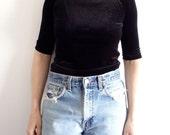 Velvet Shirt Vintage Black Womens