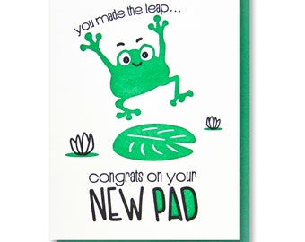 Funny New House Housewarming New Pad Leaping Frog Handlettered Illustration Letterpress Card | kiss and punch