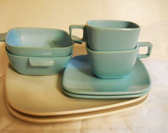 Vintage Melamine Brookpark Modern Design Dishes Aqua Melmac mixed lot
