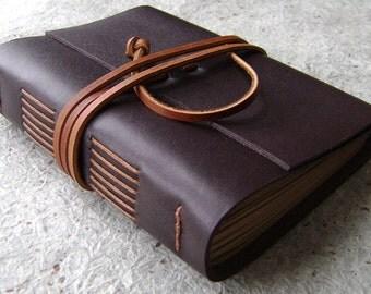 "Leather journal, 4"" x 6"", dark brown, handmade journal by Dancing Grey Studio(1906)"