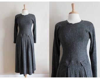 Vintage Charcoal Grey Jersey Knit Midi Dress