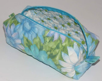 Quilted Boxy Zippered Pouch, Cosmetic Bag, Re-purposed Vintage Sheeting, Blue Turquoise Floral