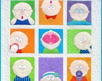 Handmade Baby Quilt / Amy Bradley Designs Peek-a-Boo / Baby Crib Quilt / Toddler Lap Blanket / Nursery Wall Art Quilt