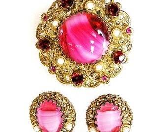 West Germany Pink Givre Art Glass Brooch and Earring Set Demi Parure