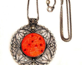 Art Deco Silver Filigree Pendant Coral Color Glass Necklace