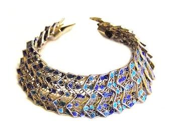 Vintage Italian Cannetille Enamel Silver Bracelet SMALL Wrist