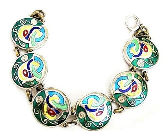 Tara Ware Cloisonne Enamel Abstract Bracelet