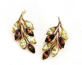 Bogoff Amber and Jonquil Leaf Clip Earrings