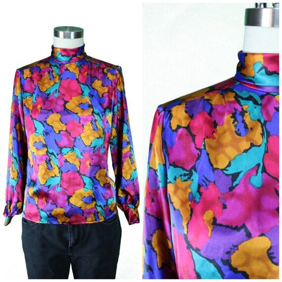80s Blouse/Bold 80s Print Blouse/Bright Printed Shirt/ Multicolor Blouse