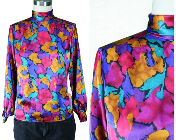 80s Blouse/Bold 80s Print Blouse/Bright Printed Shirt/ Multicolor Blouse