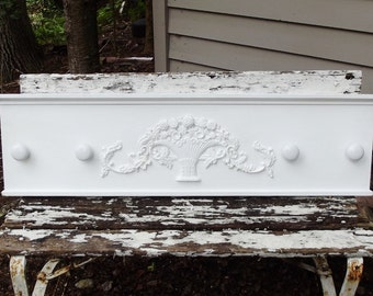 Large Coat Rack Handmade Wooden Rack with Cast Iron Basket and Porcelain Knobs
