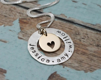 Sterling Silver and Bronze Washer Personalized Family Mother Grandmother Necklace Hand Stamped Jewelry