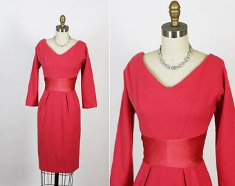 Vintage 1950s 50s Shelf Bust Hourglass New Look Party Dress M
