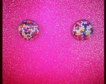 Mini Dome Sprinkle Earrings (Surgical Steel Posts)