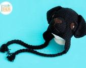 SALE Black Labrador Retriever Puppy Dog Hat READY to SHIP for 4-6 yrs