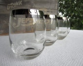 Vintage Mid Century Dorothy Thorpe Roly Poly Silver Rimmed Glasses 14 Ounces