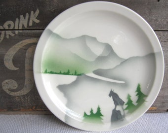 Vintage Glory of the West Great Northern Railway Syracuse China Commission Airbrush Mountain