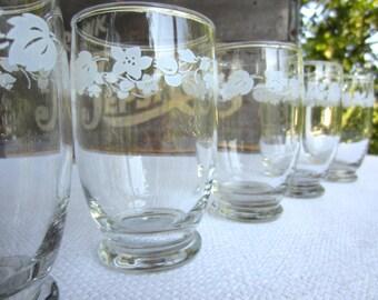 Vintage White Gooseberry Juice Glasses set of 7