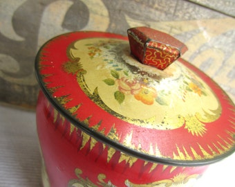 Vintage Asian Inspired Red Colorful Birds Tin George W. Honer Contianer made in England