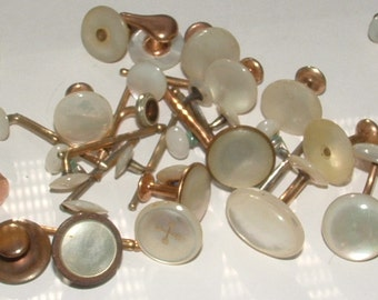 ANTIQUE m.o.p. CUFF LINKS gorgeous still  some sets most singles- 1800s to 1900s---- 35 total