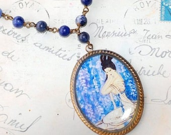FREE ShippngBoho Geisha Cameo Necklace Lapis Lazuli Beads Chain Summer Beachy