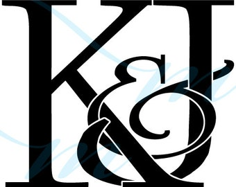 SALE - Intertwining Ampersand Monogram - K&J (instant download - jpg, psd, pdf)