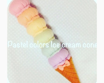ETSY Pretend food Felt food  Pastel color Ice Cream Cone