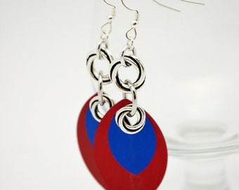 Metal Leaf Earrings. Choose Patriotic Colors or pick from others available. One of a Kind Metal Scale Earrings Dangle from Sterling. Unique.