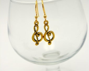 Treble Clef Music Earrings. Gift for Music Teacher, Music Student, or Anyone who loves making music. Gold plate and Tierra Cast pewter.