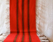 Vintage Mexican Hand Woven Wool Runner Scarf Brilliant Colors Saltillo Serape