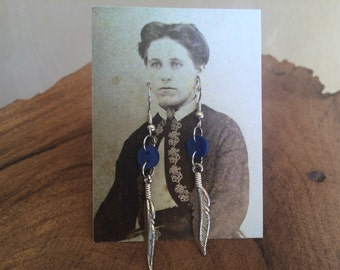 Vintage Button Drop Earrings silver