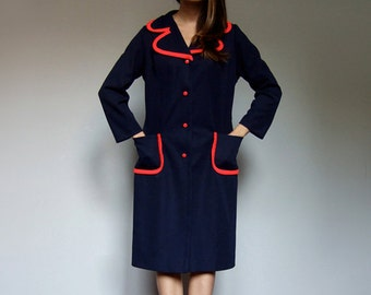 Navy Red Winter Dress Vintage 70s Collared Dress Blue Dress with Pockets Long Sleeve Dress - Extra Large XL
