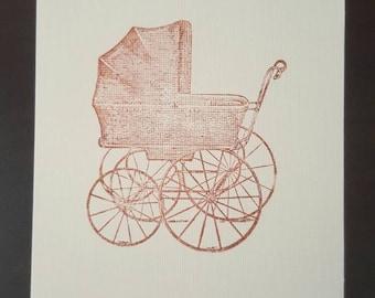 1 handmade simple stamp baby stroller card