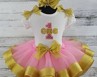 1ST birthday Pink and Gold Glitter Ribbon Tutu & T-Shirt Set Ages 1 2 3 4 5
