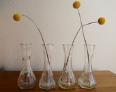 Vintage Vases // Set of 4 // Mismatched, Small, Clear, Hoosier Glass // Wedding Decor // Bridal Decor // Home Decor